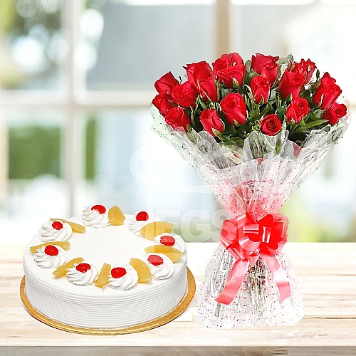 2 Lb Cake + Bunch of flowers