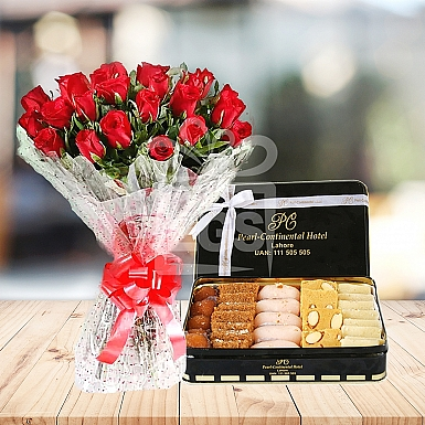 24 Red Roses and 2KG Mithai - PC Hotel
