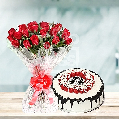 24 Red Roses and 2lbs Cake - Avari Hotel