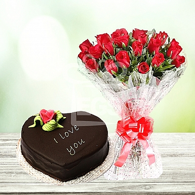 24 Red Roses with 2Lbs Heart Shape Cake - Marriott Hotel