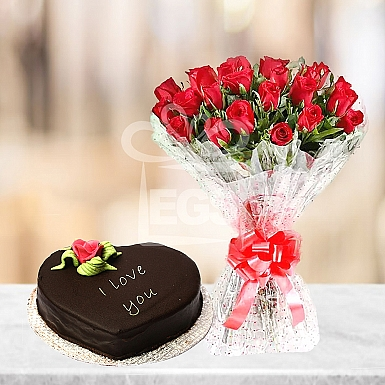 24 Red Roses with 2Lbs Heart Shape Cake - PC Hotel
