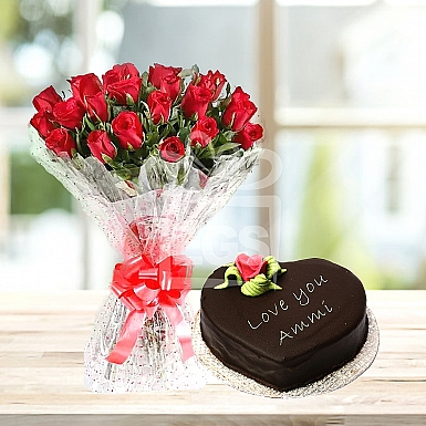 24 Red Roses with 2Lbs Heart Shape Mothers Day Cake - Marriott Hotel