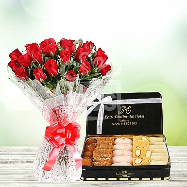 24 Red Roses with 4KG Mithai - PC Hotel
