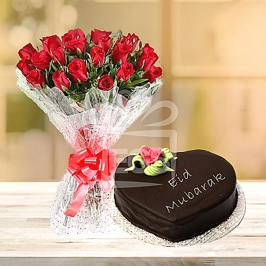 24 Red Roses with Heart Shape Eid Day Cake - PC Hotel