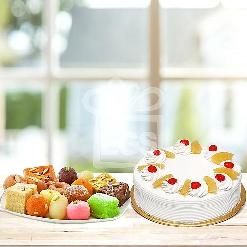 2KG Mithai + 2LB Luxury Cake