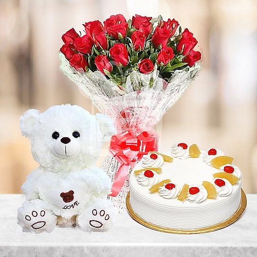 2LB Cake + Red Roses and Teddy Bear
