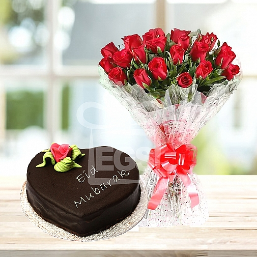 2lbs Eid Day Cake with 24 Red roses