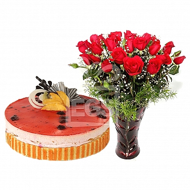 24 Red Roses with 2Lbs Cake - PC Hotel Lahore
