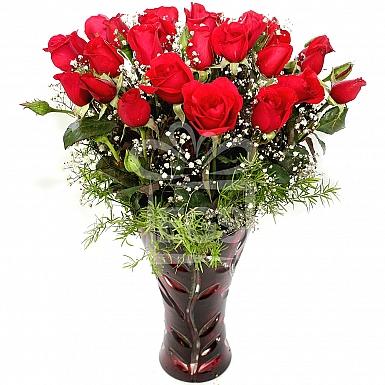 Velvet Red Roses in Vase