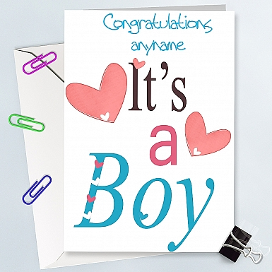Congrantulation On A Boy - Personalised Cards