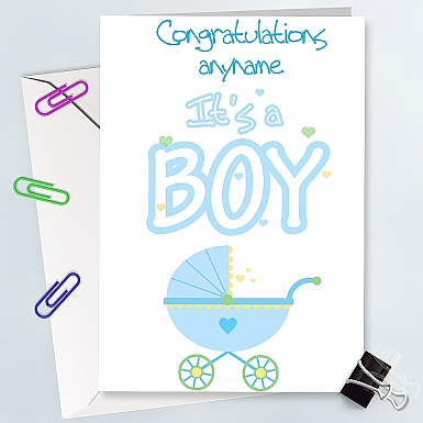 Congratulation On Boy  With Craddle - Personalised Cards