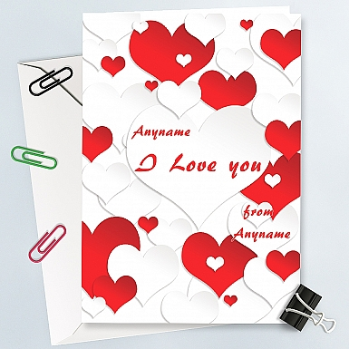I Love You-Red & White Hearts -Personalised Card