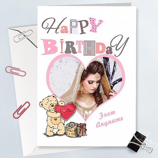 Happy Birthday Heart Photo Card - Personalised Card