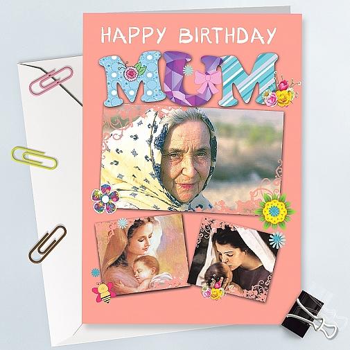 Happy Birthday Mum Photo Card - Personalised Card