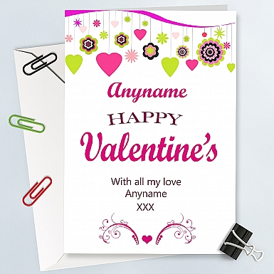Love Hearts Personalised Card