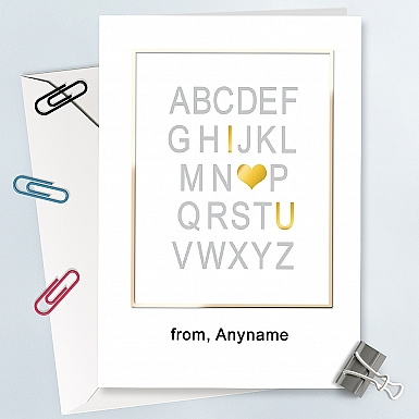 Alphabetical Love you-Personalised Card