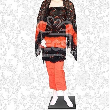 Black and Orange Crinkle Chiffon Chunri Dress-Unstitched