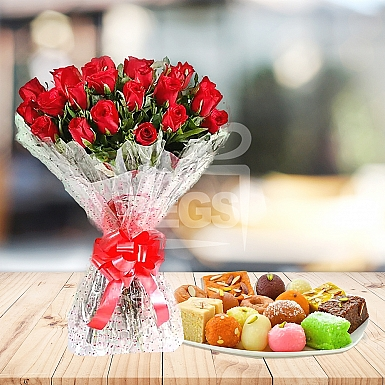 Bunch Of Red Roses + 2KG Mithai