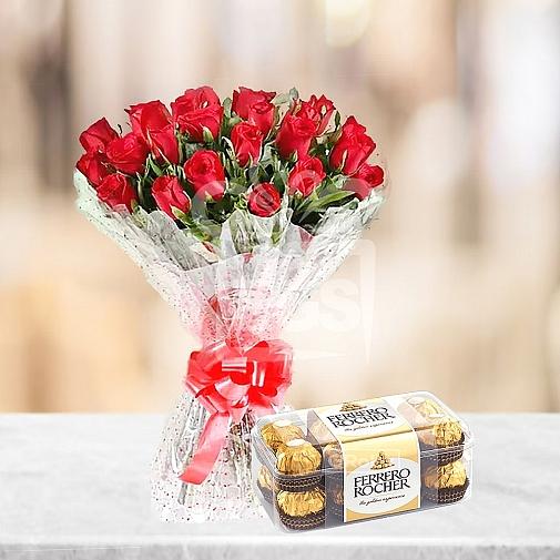 Bunch Of Red Roses + Box of Ferrero Rocher