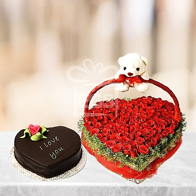 Chocolate Heart with Roses Heart