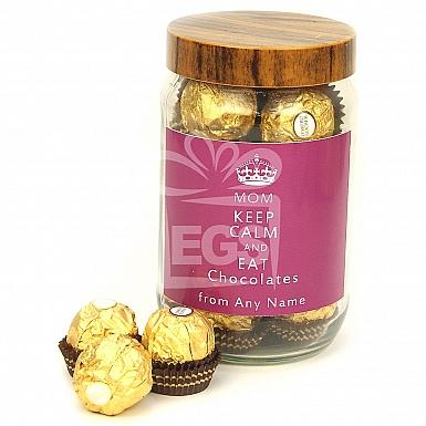 Mom Keep Calm Eat Chocolate Jar - Personalised Jar