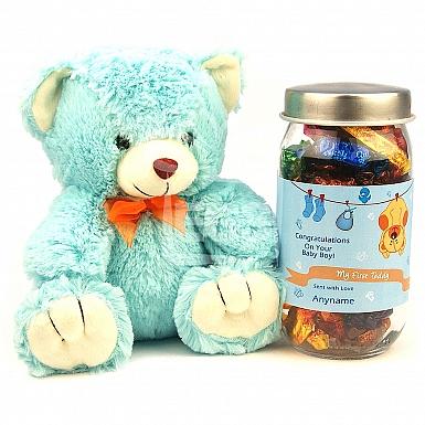 Personalised Baby Boy Jar with Teddy