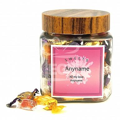 Personalised Assorted Candies Jar-Pink Sweets