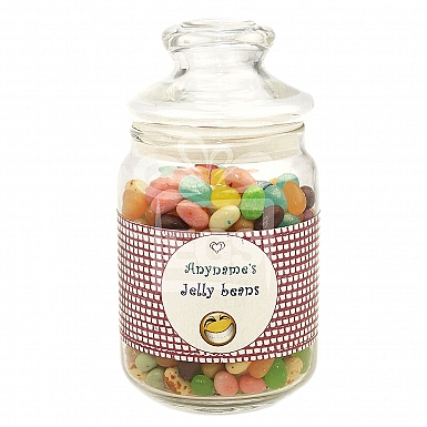 Personalised Jelly Beans Jar-Heart Smiley
