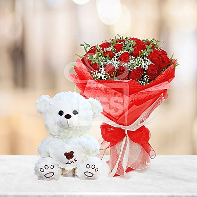 Exclusive Flowers and Bear