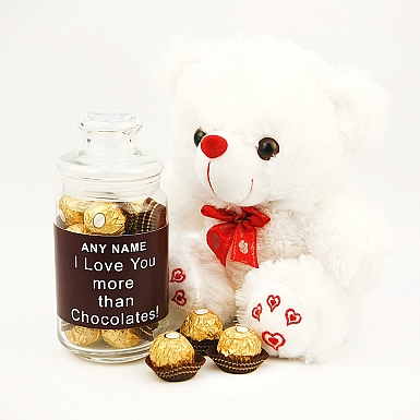 Love you Teddy with Personalised Jar