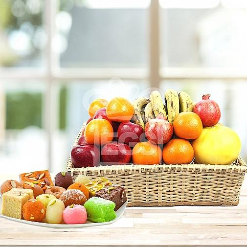 Fresh Seasonal Fruits + 2KG Mix Mithai