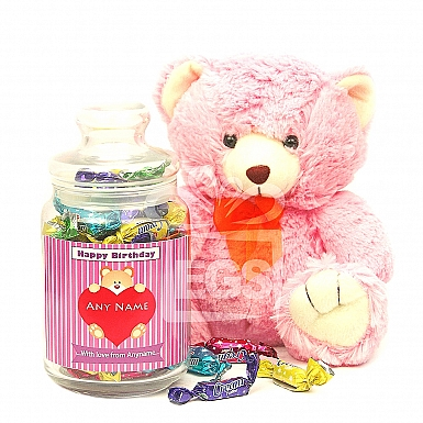 Personalised Birthday Candy Jar with Teddy
