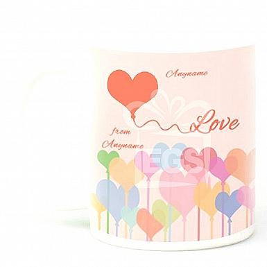 Happy Valentines Day Hearts-Personalised Mug