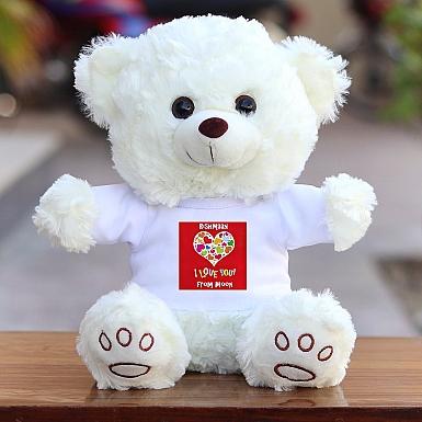 I Love Hearts in Heart - Personalised Bear