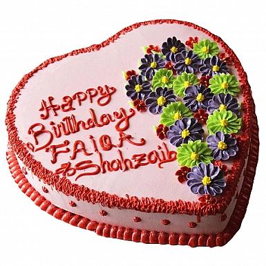 4Lbs Flower Heart Cake - Kitchen Cuisine