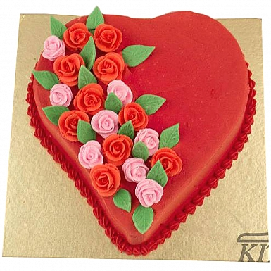 3Lbs Floral Red Heart Cake - Kitchen Cuisine