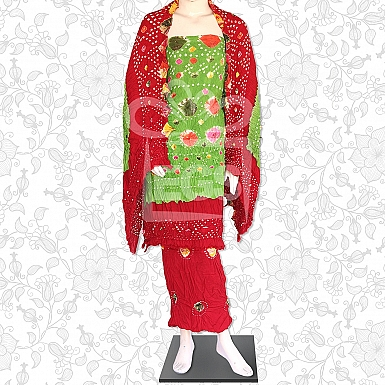 Light Green and Red Linen Chunri Dress-Unstitched