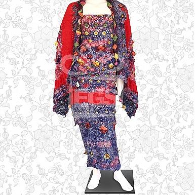 Marble Dye Linen Churi Dress-Unstitched