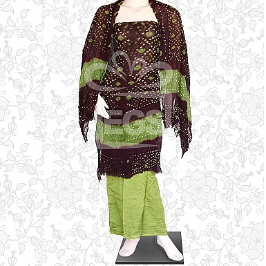Maroon and Green Crinkle Chiffon Dress-Unstitched