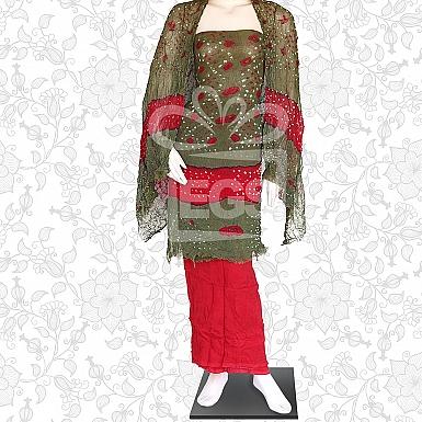 Mehndi and Red Crinkle Chiffon Dress-Unstitched