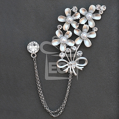 Double Chain Silver floral Brooch