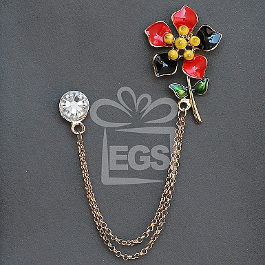 Double Chain Multicolor floral Brooch