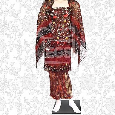 Mom Batik Crinkle Chiffon Dress-Unstitched