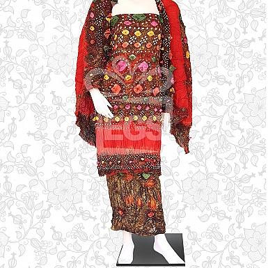 Mom Batik Linen Churi Dress-Unstitched