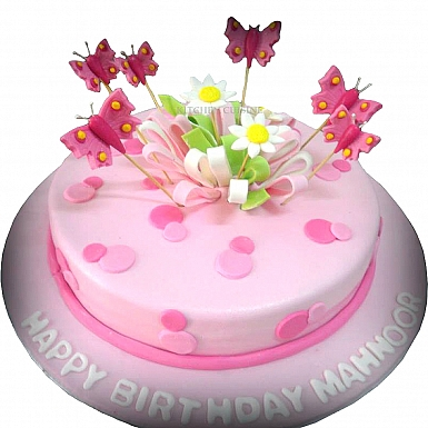 3Lbs Pink Butterfly Cake - Kitchen Cuisine