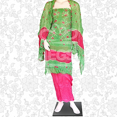 Green and Pink Crinkle Chiffon Dress-Unstitched