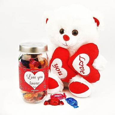 Quality Street Jar with Valentines Teddy