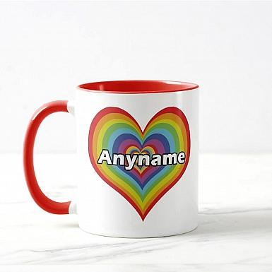 Rainbow Heart-Personalised Mug