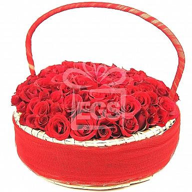 Red Roses Embedded Basket