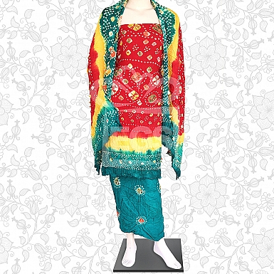 Red Yellow and Green Linen Chunri Dress-Unstitched